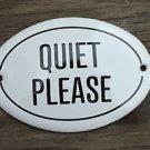 SMALL ANTIQUE STYLE ENAMEL METAL QUIET PLEASE DOOR SIGN DOOR PLAQUE