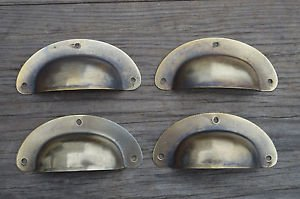 "A SET OF 4 ANTIQUE PRESSED AGED BRASS DRAWER HANDLE FILING INDUSTRIAL 3"" CB22"