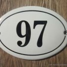 SMALL ANTIQUE STYLE ENAMEL DOOR NUMBER 97 SIGN PLAQUE HOUSE NUMBER FURNITURESIGN
