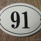 SMALL ANTIQUE STYLE ENAMEL DOOR NUMBER 91 SIGN PLAQUE HOUSE NUMBER FURNITURESIGN