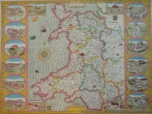 OLD COPY OF JOHN SPEED 1610 MAP OF WALES WITH CASTLE AND TOWNS CARDIFF RADNOR