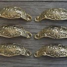 6 brass Victorian cup drawer handle dresser draw pull handle c/w screws 2003