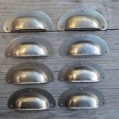 A SET OF 8 ANTIQUE PRESSED AGED BRASS DRAWER HANDLE FILING INDUSTRIAL PULL CB12