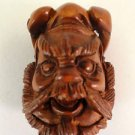 BEAUTIFUL HAND CARVED WOODEN BOXWOOD NETSUKE WARRIORS FACE D38