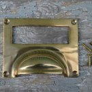 SUPERB LARGE SOLID BRASS ANTIQUE STYLE FILING CABINET HANDLE DRAWER LABEL CR5