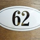 ANTIQUE STYLE ENAMEL DOOR NUMBER 62 HOUSE NUMBER DOOR SIGN PLAQUE