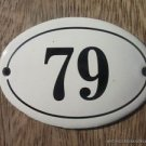 SMALL ANTIQUE STYLE ENAMEL DOOR NUMBER 79 SIGN PLAQUE HOUSE NUMBER FURNITURESIGN