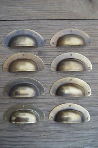 """A SET OF 8 ANTIQUE PRESSED AGED BRASS DRAWER HANDLE FILING INDUSTRIAL 3"""" CB22"""