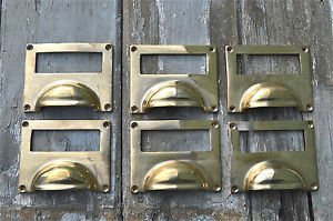 SET OF 6 LARGE SOLID BRASS ANTIQUE STYLE FILING CABINET HANDLE DRAWER LABEL CR5