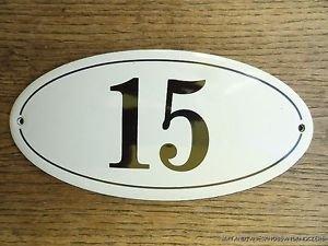 ANTIQUE STYLE ENAMEL DOOR NUMBER 15 HOUSE NUMBER DOOR SIGN PLAQUE