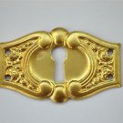 Original antique pressed brass escutcheon plate keyhole box furniture KP4