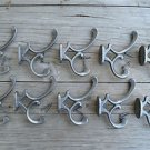 Set of 10 antique style cast iron Addison coat hook double coathooks c/w screws