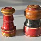 A PAIR OF BEAUTIFUL ANTIQUE ROUND WOODEN SPICE BOX APOTHECARY CANISTER POT SP32