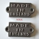 2 small cast iron MADE IN ENGLAND plaque signs furniture sign industrial style