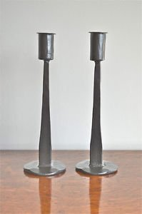 Pair of medieval style wrought iron table candlesticks candle stand stick