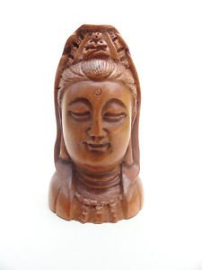 BEAUTIFUL HAND CARVED WOODEN BOXWOOD NETSUKE OF A WOMANS HEAD Z35