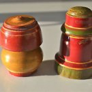A PAIR OF BEAUTIFUL ANTIQUE ROUND WOODEN SPICE BOX APOTHECARY CANISTER POT SP30