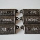 6 vintage cast iron London drawer pull handles chest LON