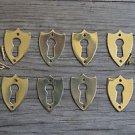8 brass Victorian shield furniture escutcheon antique box keyhole plates SE2