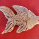 BEAUTIFUL HAND CARVED BOVINE BONE FISH NETSUKE PENDANT BEAD BF1