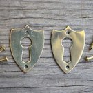 Pair brass Victorian shield furniture escutcheon antique box keyhole plate SE2