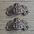 Pair small Victorian acanthus cast iron drawer pull furniture handle chest AL8