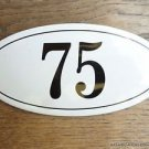 ANTIQUE STYLE ENAMEL DOOR NUMBER 75 HOUSE NUMBER DOOR SIGN PLAQUE