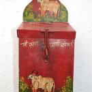 CHARMING INDIAN FOLK ART HOLY COW MONEY COLLECTION BOX PAINTED TIN MONEY BOX HC3