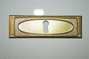 Original antique pressed brass escutcheon plate keyhole chest furniture KP13