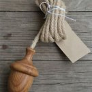 Solid oak acorn light pull toilet cistern pull hanging rope English made