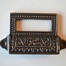 EDWARDIAN STYLE PATTERNED CAST IRON LABEL FRAME HANDLE FILING DRAWER PULL CB9