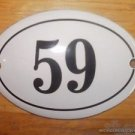 SMALL ANTIQUE STYLE ENAMEL DOOR NUMBER 59 SIGN PLAQUE HOUSE NUMBER FURNITURESIGN