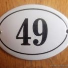 SMALL ANTIQUE STYLE ENAMEL DOOR NUMBER 49 SIGN PLAQUE HOUSE NUMBER FURNITURESIGN