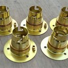 SET OF 5 BRASS BAYONET B22 LAMP BULB HOLDER LAMP HOLDER EARTH C/W SHADE RING 9E