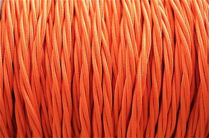 1 METER ORANGE SILK COVERED 3 CORE LIGHT FLEX WIRE BRAIDED TWISTED LAMP CORD B8