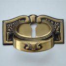 Original antique French pressed brass pull handle keyhole chest furniture KP20