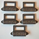 SET OF 5 EDWARDIAN PATTERNED CAST IRON LABEL FRAME HANDLE FILING DRAWER PULL CB9