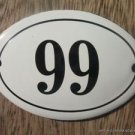 SMALL ANTIQUE STYLE ENAMEL DOOR NUMBER 99 SIGN PLAQUE HOUSE NUMBER FURNITURESIGN