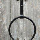 Handmade wrought iron folk art curled top towel ring holder wall mounted rack WQ