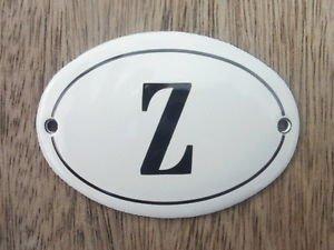 SMALL ANTIQUE STYLE ENAMEL DOOR LETTER Z SIGN PLAQUE HOUSE FLAT FURNITURE LETTER