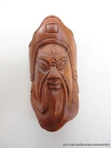 BEAUTIFUL HAND CARVED WOODEN BOXWOOD NETSUKE FACE OF A WISE MAN Z29