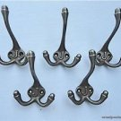 SET OF 5 CLASSIC ANTIQUE STYLE LETTER J TRIPLE COAT HOOK CAST IRON HOOKS HAT