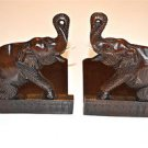 A PAIR OF ANTIQUE HAND CARVED ELEPHANT BOOKENDS BOOK STAND END RACK SOLID TEAK