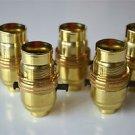 SET OF 5 SWITCH BRASS BAYONET FITTING LAMP BULB HOLDER C/W SHADE RING 10MM L9