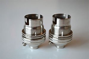 2 NICKEL BAYONET FITTING BULB HOLDER LAMP HOLDER EARTHED WITH SHADE RING 10MM L1