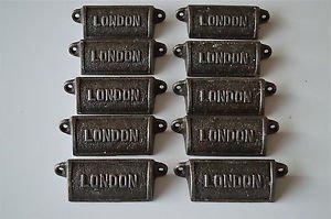 10 vintage cast iron London drawer pull handles chest handle LON