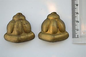 Pair original antique pressed brass furniture mount mirror cartouche emblem T16