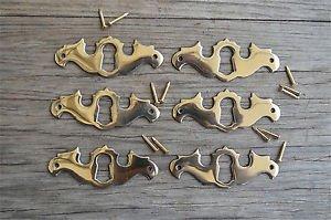 6 solid brass Georgian furniture escutcheon antique style keyhole plate SE1