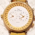 Vintage Tali Beverly Hills Dual Time Watch Leather Strap Gold Tone