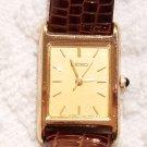 Vintage Seiko Gold Tone Watch Brown Calf Strap